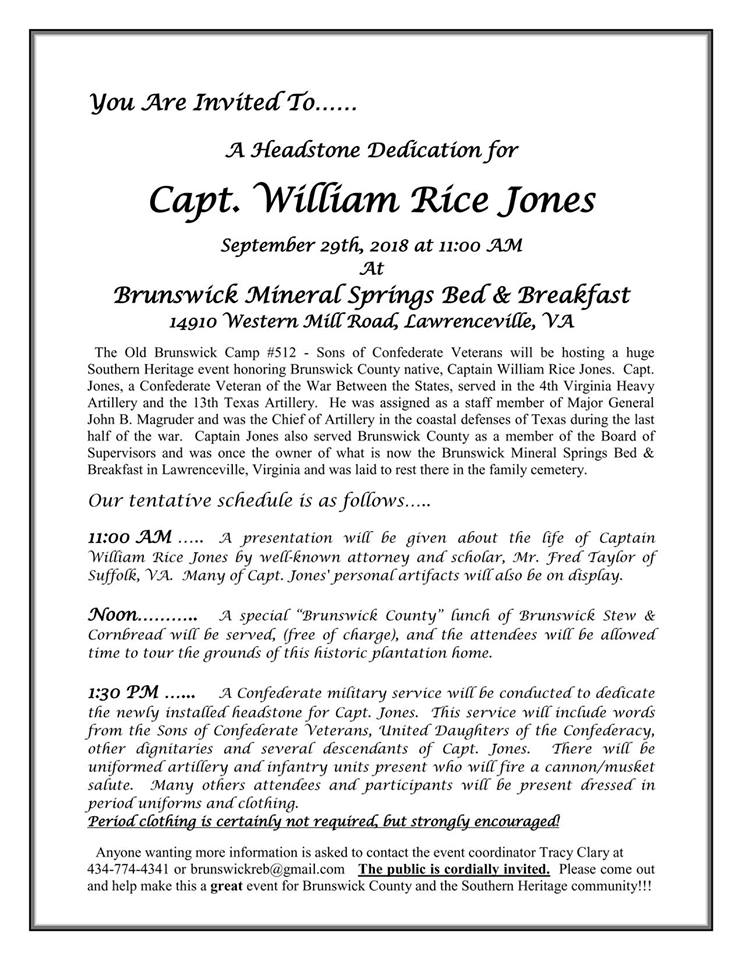 Headstone Dedication - Announcement
